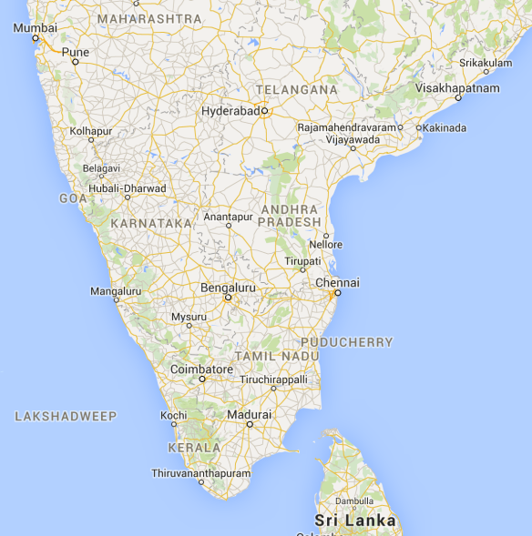 Southern India Map