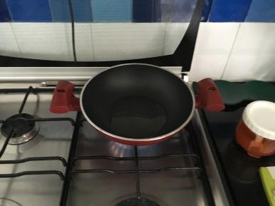 Oil heating in saute pan